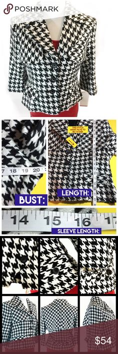 BILL🔴BLASS NWT Houndstooth Jacket/Blazer-Cute!!! BILL BLASS -NWT-Houndstooth  Black and White Jacket/Blazer Very Trendy to put over a boring  Outfit.  Lol.  ❗️Flaw-A stitch might have to be tightened      On the flap indicated on the pic❗️  💚THANKS-Deb @bootz1342 Bill Blass Jackets & Coats Blazers