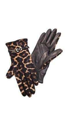 Diane von Furstenberg Buckle Haircalf Gloves....