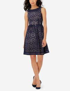Cute but my closet does not need another navy dress! Lightweight Lace Dress from THELIMITED.com