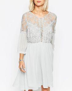 Vero Moda   Vero Moda Lace Detail Skater Dress at ASOS