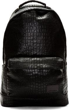 61fd365f99a4 Krisvanassche Black Croc Etched Leather Backpack Men s Summer Fashion  Trends