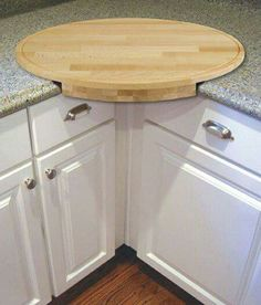Corner cutting board. Put trash can or compost bucket under and proceed.