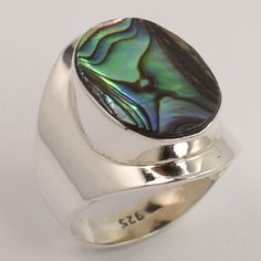 Natural ABALONE SHELL Gemstone 925 Sterling Silver Jewelry Chunky Ring Size US 7 #Unbranded