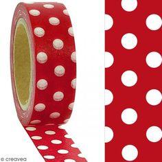 Surtido washi tape Puntos blancos sobre fondo rojo cereza  - 1,5 x 10 m - Fotografía n°2
