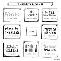 Alignments - Lawful Good -Chaotic Evil