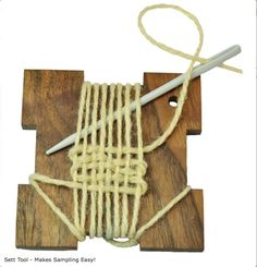 TIP - Easy to DIY! Use this Handy Sett Tool to needle-weave a sample before you warp-up your next weaving project. This little tool makes sampling easy and fun! When finished, you end up with two samples; 1 on the front and 1 on the back. The Woolery