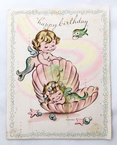 Cute Little Mermaid Boy Girl Sweetheart Vintage Birthday Card Bubble Mid Century