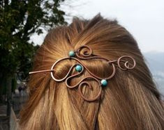 Celtic knot hair barrette - Rustic shawl pins - Copper hair accessory for girls - Vikings hair slide - Gift for her - Metal pin jewelry Blue jasper hair slide Boho hair barrette Bohemian style hair accessories Spiral hair pin Spiral je Hair Jewelry, Metal Jewelry, Jewlery, Feather Jewelry, Celtic Knot Hair, Viking Hair, Bohemian Hairstyles, Hair Slide, Copper Hair