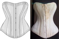 Ref R Paper pattern for an antique fully boned victorian long bust Jackson corset 24.22 inches waist size