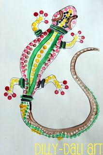 Dilly-Dali Art: Aboriginal Dot Painting-Australia World Thinking Day craft Australia Crafts, Australia Day, Australia School, Reptile Crafts, Aboriginal Dot Painting, Aboriginal Art For Kids, Aboriginal Symbols, Aboriginal Education, Indigenous Education