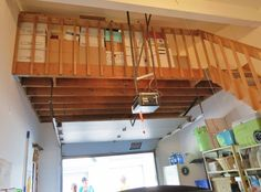 Loft storage in garage Backyard sheds plans Garage Plans With Loft, Plan Garage, Loft Plan, Garage Attic, Garage House, Attic Stairs, Garage Organization Tips, Loft Storage, Garage Storage Solutions