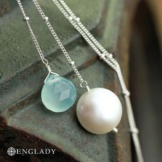 Aqua Chalcedony and Freshwater Coin Pearl Sterling by Englady for the mermaid in you......
