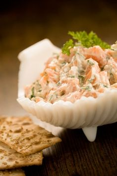 Salmon Dip Ingredients: Paula Deen Silly Salt Black pepper 3 ounce salmon chunked 1 tablespoon fresh diced onions 1 tablespoon fresh parsley 1/4 cup mayonnaise Directions-Combine Mayonnaise, parsley and onion. Fold salmon in with spatula. Add black pepper and Silly Salt to taste. Recipe courtesy Paula Deen -