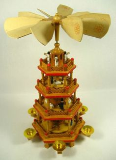 "German Style Wood 17.5"" 4 Tier Candle Holder Christmas Nativity Carousel Pyramid"