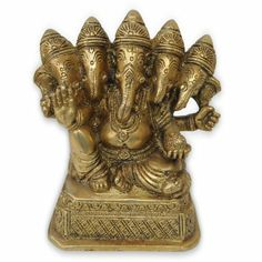 Christmas Gifts Five Face Ganesha Brass Statue