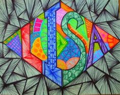Super name art projects drawings ideas Middle School Art Projects, High School Art, Art Mots, Name Art Projects, Classe D'art, 6th Grade Art, Ecole Art, Elements Of Art, Art Lesson Plans