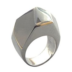 Gem Faceted Large Ring Sterling Silver Geometric Jewelry by arosha, $165.00