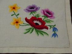 """Vintage Linen Tray Cloth: Fine Raised Hand Embroidery """"Flowers"""""""