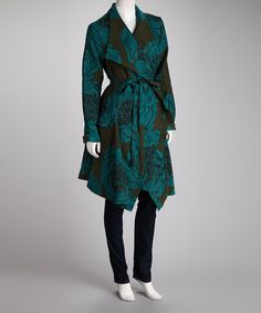 Take a look at this Olive & Turquoise Floral Coat by Instant Charm: Women's Apparel on #zulily today!