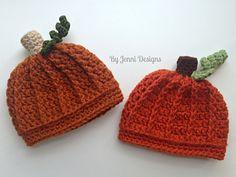 Newborn Pumpkin Beanie pattern by Jenni Catavu