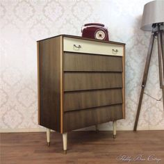 Retro-Vintage-Danish-Tall-Boy-Chest-Of-Drawers-Scandinavian-Mid-Century-60s-70s