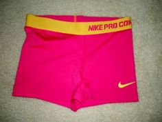 """Nike Pro Combat Pink Yellow 3"""" Compression Shorts Awesome Color"""