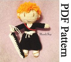 Crochet+Ichigo+Kurosaki+Doll+Pattern!+With+step+by+step+process.+Hope+you+enjoy+it!+Let+me+know+if+you+have+any+questions.    You+are+buying+a+PATTERN+and+not+the+finished+product.+The+finished+product+will+be+approximately+8+1/2+inches+long+&+6+inches+wide.    Please+do+not+claim+this+pattern+as...