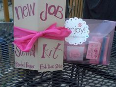 Amusing Pursuits: New job survival kit: Rachel edition - Gag Gifts, Cute Gifts, New Job Survival Kit, Leaving Presents, Going Away Gifts, Farewell Gifts, Work Gifts, Gifts For Coworkers, Creative Gifts
