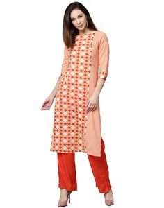 Jaipur Kurti Women Orange Geometrical Print Straight Fit Cotton Slub Kurta with Orange Palazzo. This Straight Fit Cotton Slub Kurta has Yoke Detail & Button Detail, Sleeves, Round Neck & paired with Orange Palazzo. Women Salwar Suit, Kurta Palazzo, Indian Designer Wear, Jaipur, Half Sleeves, Suits For Women, Party Wear, Casual Wear, Summer Dresses