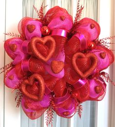 Valentine's Mesh and Ribbon Wreath with Red Hot Pink Hearts. This is pretty one!!