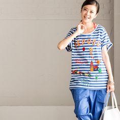 Blue White Stripe Lovely T-shirt Women Summer Tops  T1035B