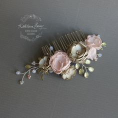 R780 Anique bridal wedding hair comb sage by KathleenBarryJewelry