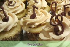 Elvis Cupcakes! Peanut Butter Frosting and Banana Cupcakes, garnished with chocolate music notes| Andrea Webb's Portfolio