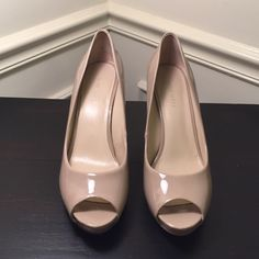 "Nine West Nude Patent Pumps Nine West heels in nude/natural color patent leather. Peep toe. 3.5"" heel. Style is Kelsyo. Size 6.5. Only worn once, maybe twice. In excellent condition. Price Firm. Also available in black. Nine West Shoes Heels"