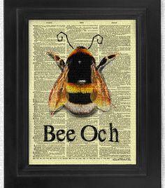 Bee OCH Fun Motivational Attitude art print by HelloUwall on Etsy