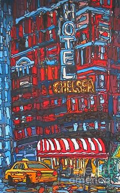 Hotel Chelsea New York by John Malone Chelsea New York, Chelsea Hotel, New York Painting, Greeting Cards, Wall Art, City, Cities, Wall Decor