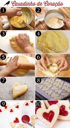 casadinho de coração, biscoitos recheados, cookies, receita biscoito, heart cookie, recipe, love, treats Christmas Cookies Gift, Confort Food, Valentine Desserts, Pastry And Bakery, Holiday Cakes, Cake Decorating Tips, Sweet Bread, Cupcake Cookies, Just Desserts