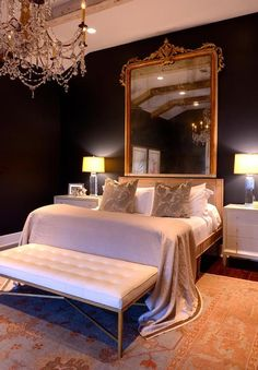 Gold Baroque Mirror Over Bed French Bedroom