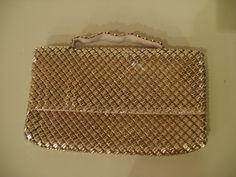 Whiting & Davis Purse Gold Mesh Flap Closure Clutch Handbag Glamourous Purse. $165.00, via Etsy.