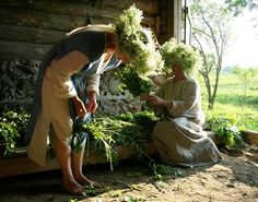 We sat in meadows, gathered greens with flowers and braided the headwreaths.