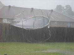 A trampoline on top of our fence. (Source: Anonymous)