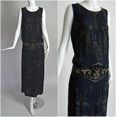 HOUSE OF ADAIR France 1920's Vintage Navy Beaded Art Deco Gatsby Flapper Dress