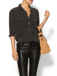 fd6a0305cd5 Signature Silk Blouse Product Image Black Silk Shirt