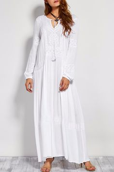 A woven maxi dress featuring v-neckline with tassel self-ties and puff sleeves with elasticized cuffs. - Material: Cotton and Linen - Length: Ankle-Length - Neckline: V-Neck - Sizes: S, M, L, XL Size Chart (Measurements in cm): inch Size US Size White Maxi Dresses, Maxi Dress With Sleeves, Linen Dresses, Cotton Dresses, Cute Dresses, Dress Skirt, Casual Dresses, Summer Dresses, Temple Dress