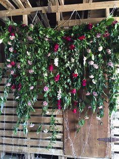 Flower wall for barn wedding