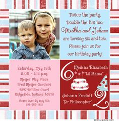 Joint birthday party invitation boy girl girl girl boy boy photo sibling birthday party invitation is great for twins siblings friends having a joint party with balance of pink blue colors for boy girl party filmwisefo