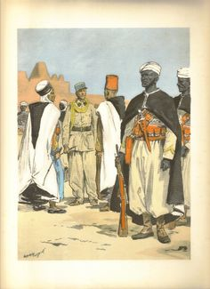 41. Compagnie Sahariennes. Tirailleurs. Officier indigène (grande tenue). Officier Français (tenue de travail). Sous-officier Français. Tirailleurs. American War, Early American, Military Art, Military History, Barbary Wars, French Foreign Legion, French Colonial, French Empire, French Army