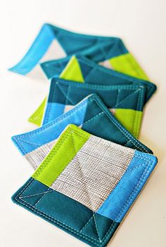 Fabric Coasters; cute and easy to clean or switch out