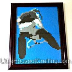 Need something for your killer whale lover? Love Keiko? This handmade Killer Whale Perler Wall Art would be a perfect gift to surprise a roommate or friend!  This framed Killer Whale perler is 11 inches long and 8.5 inches wide. Design consists of 2,200 perler beads ironed together.  All Litt...