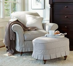 ticking with box pleats-  i believe from Pottery Barn